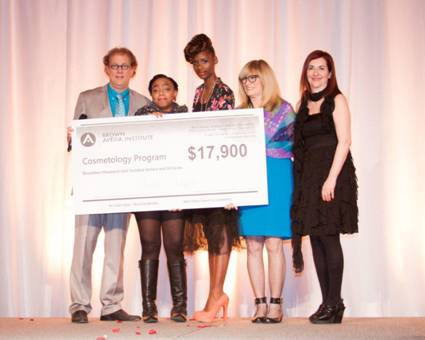2013 Cosmetology Scholarship Winner Aleise Chapple As Pictured Left to Right- Ed Brown, Aleise Chapple, Chrishon Wilson (Model), Nancy Brown, Holly Brown.jpg