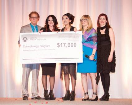 2013 Cosmetology Scholarship Winner Jillian Bernot As Pictured Left to Right- Ed Brown, Jillian Bernot, QiQi Xu (Model), Nancy Brown, Holly Brown.jpg