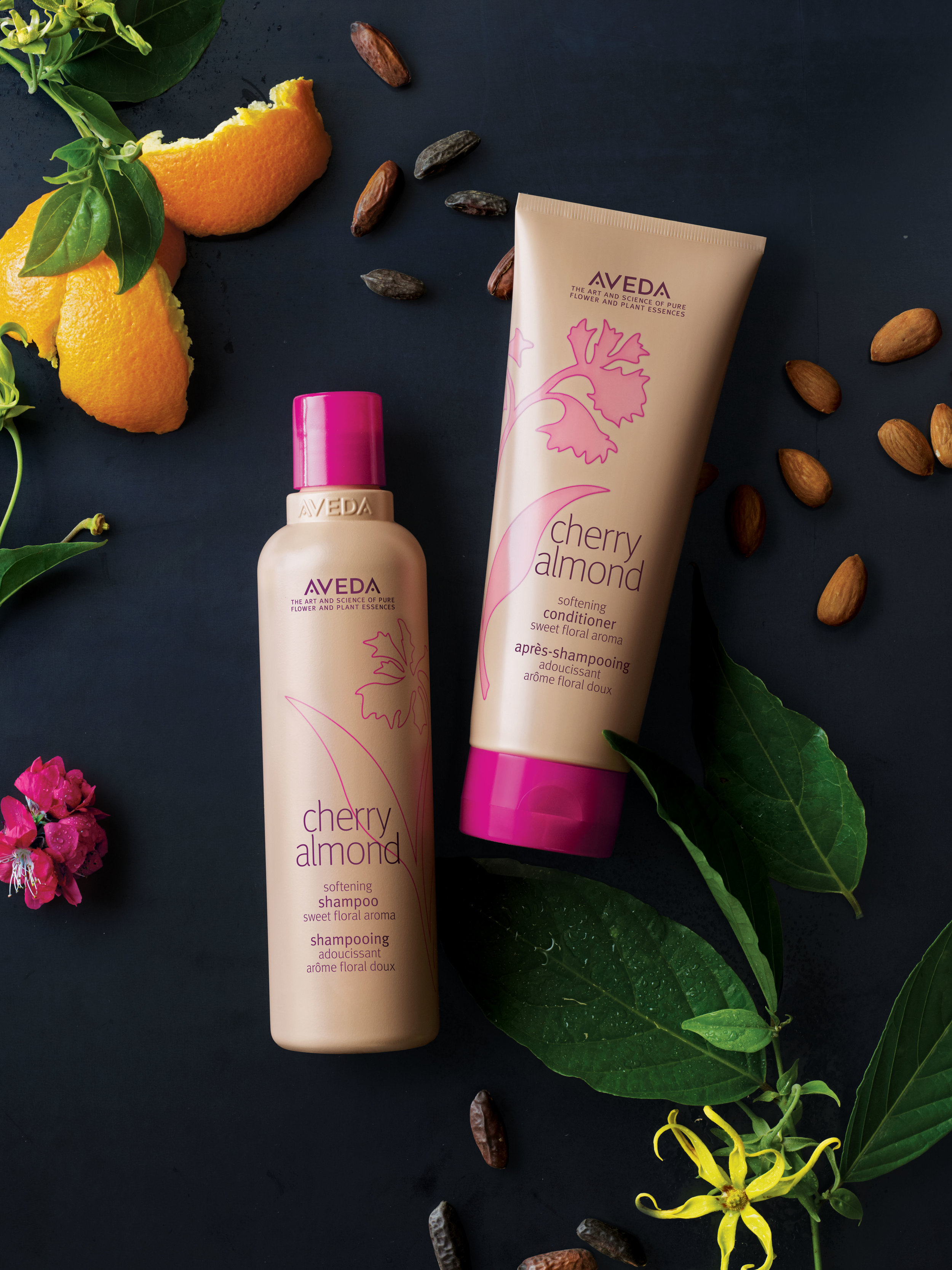 Sweet by nature, wild at heart.   Cherry Almond shampoo and conditioner • 98% naturally derived • Touchably soft hair • Naturally sweet aroma