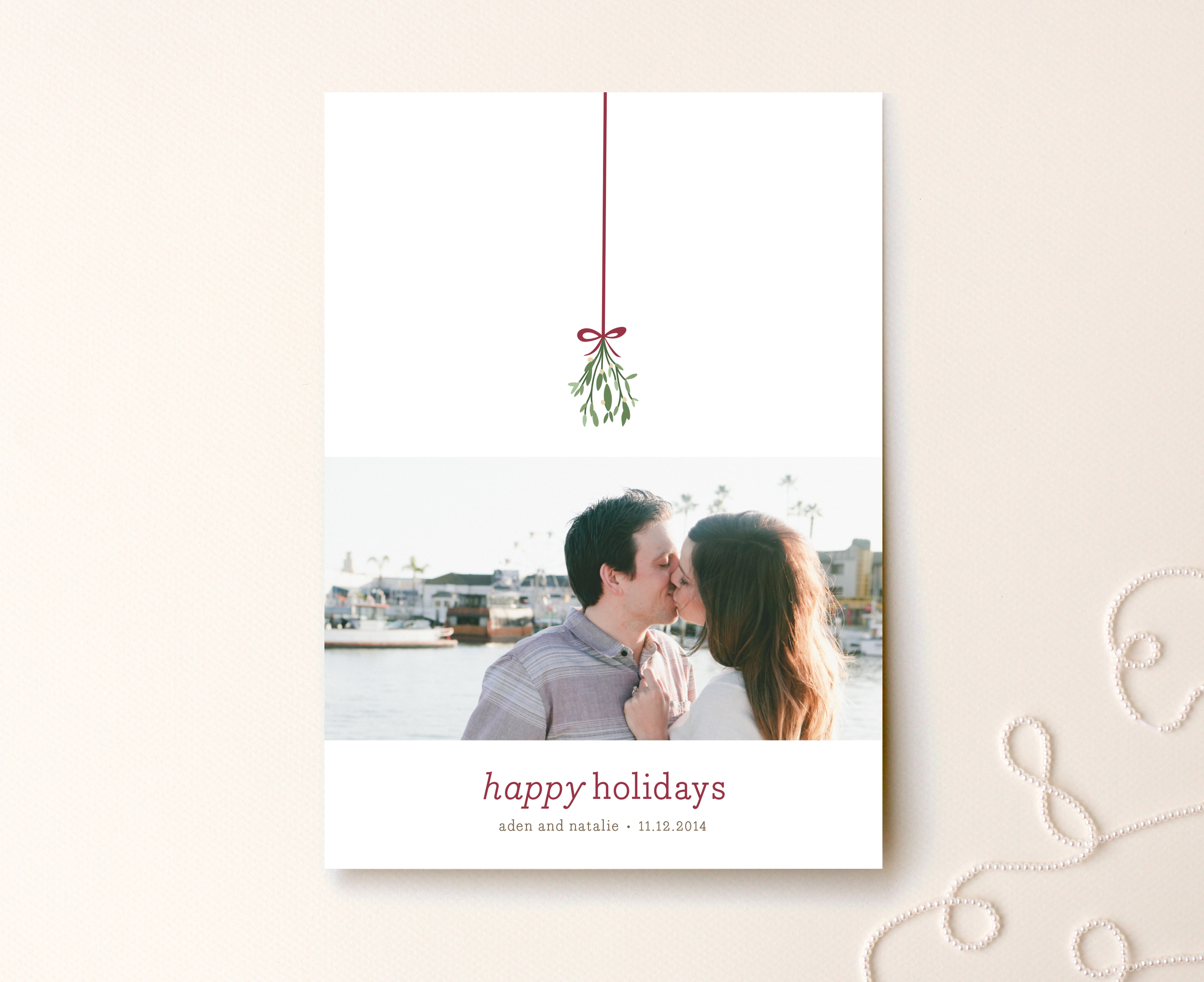 Mistletoe Kiss Holiday Photo Card by roxy for Minted 2.jpg