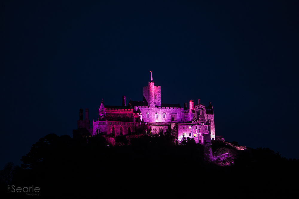 St Michaels Mount illuminates pink breast cancer