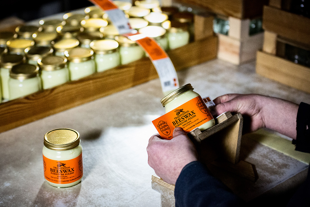 Labeling beeswax furniture polish labels - Cambridge Traditional Products