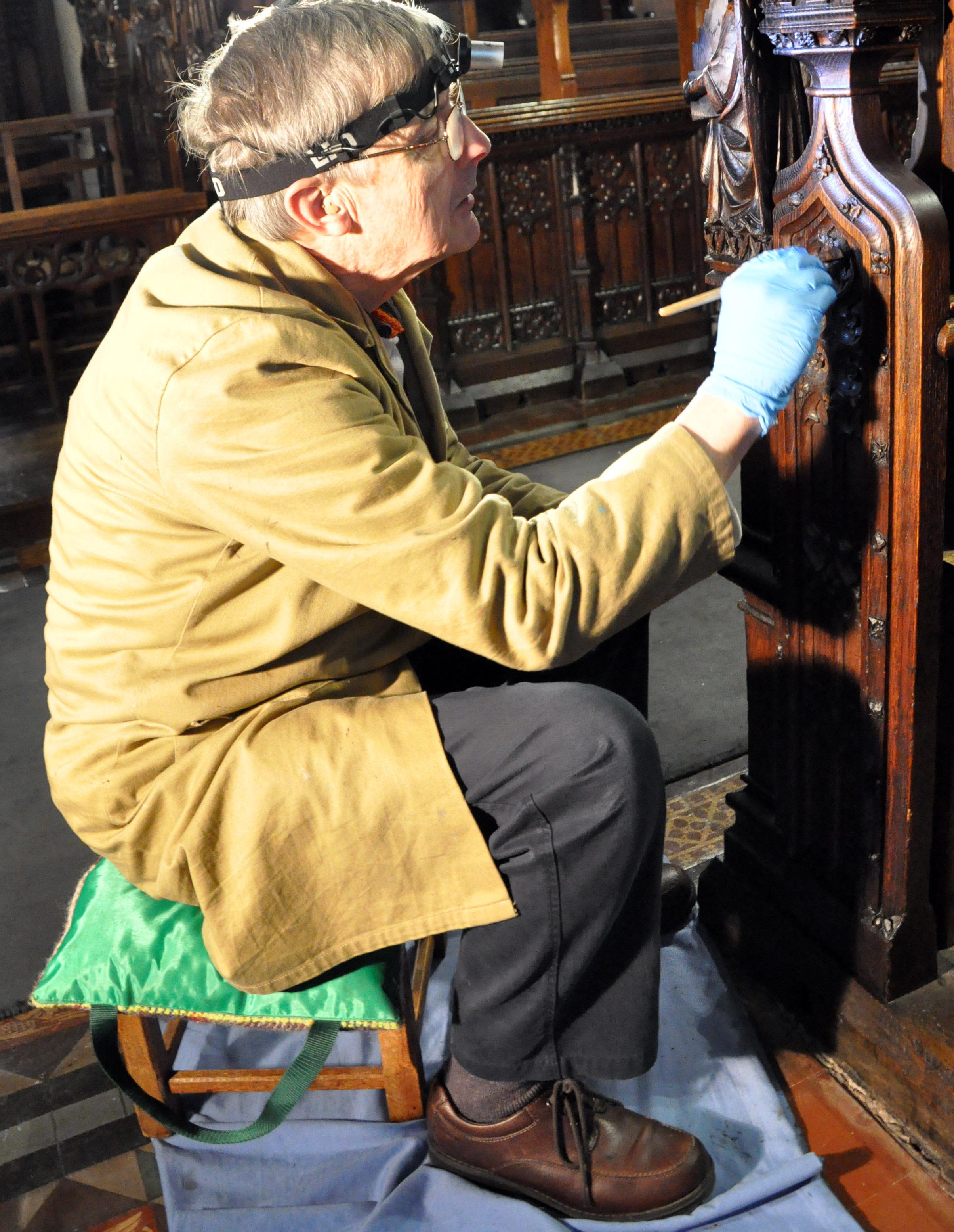 Our beeswax furniture polish is being used to restore 19th century oak choir stalls at St Mary-le-Tower Church in Ipswich