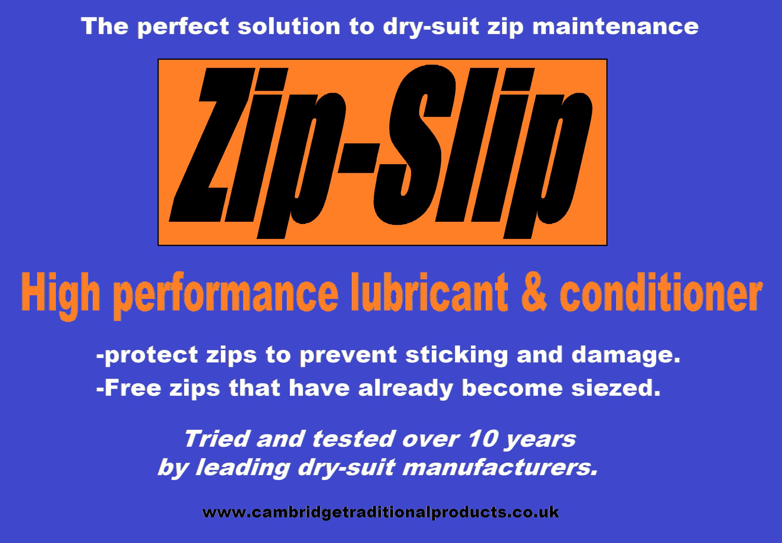Zip-Slip - zip lubricant and zip repair for dry suits