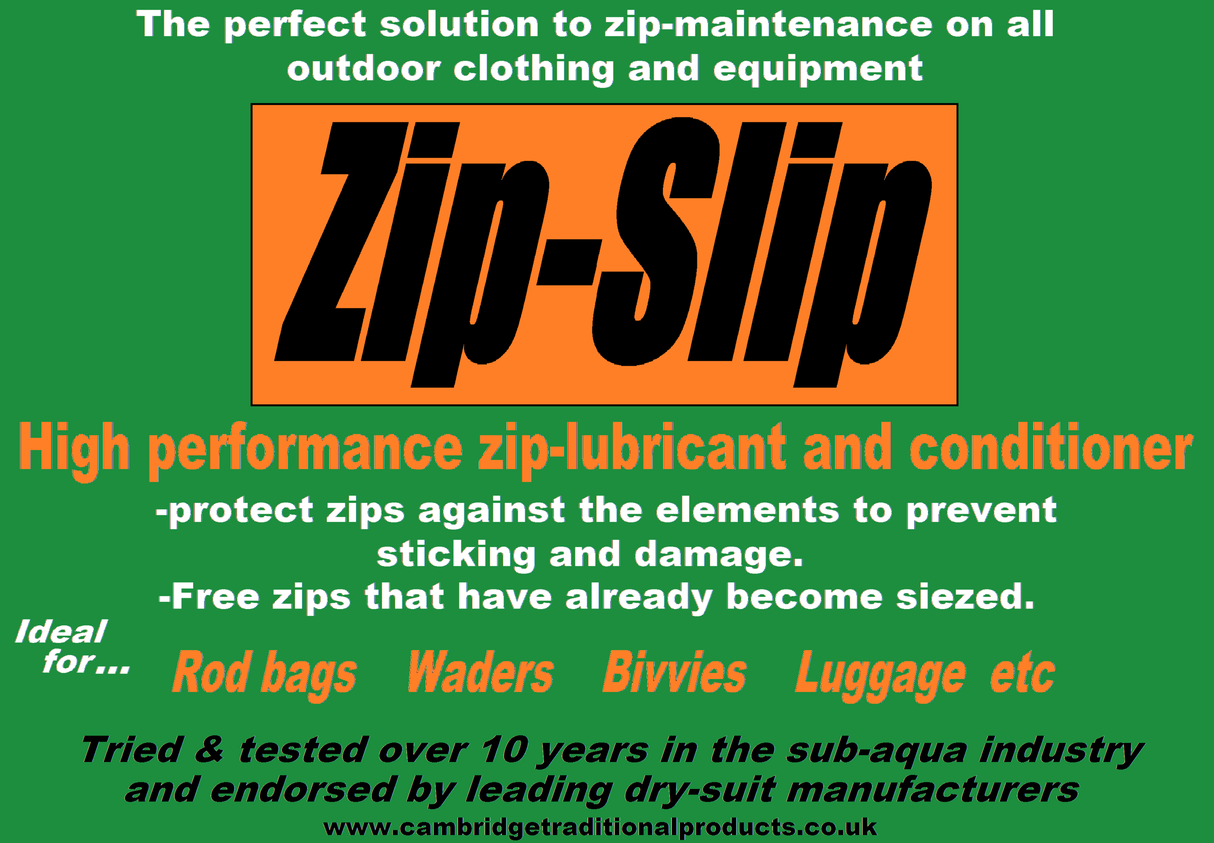 Zip-Slip - zip lubricant and zip repair for fishing tackle
