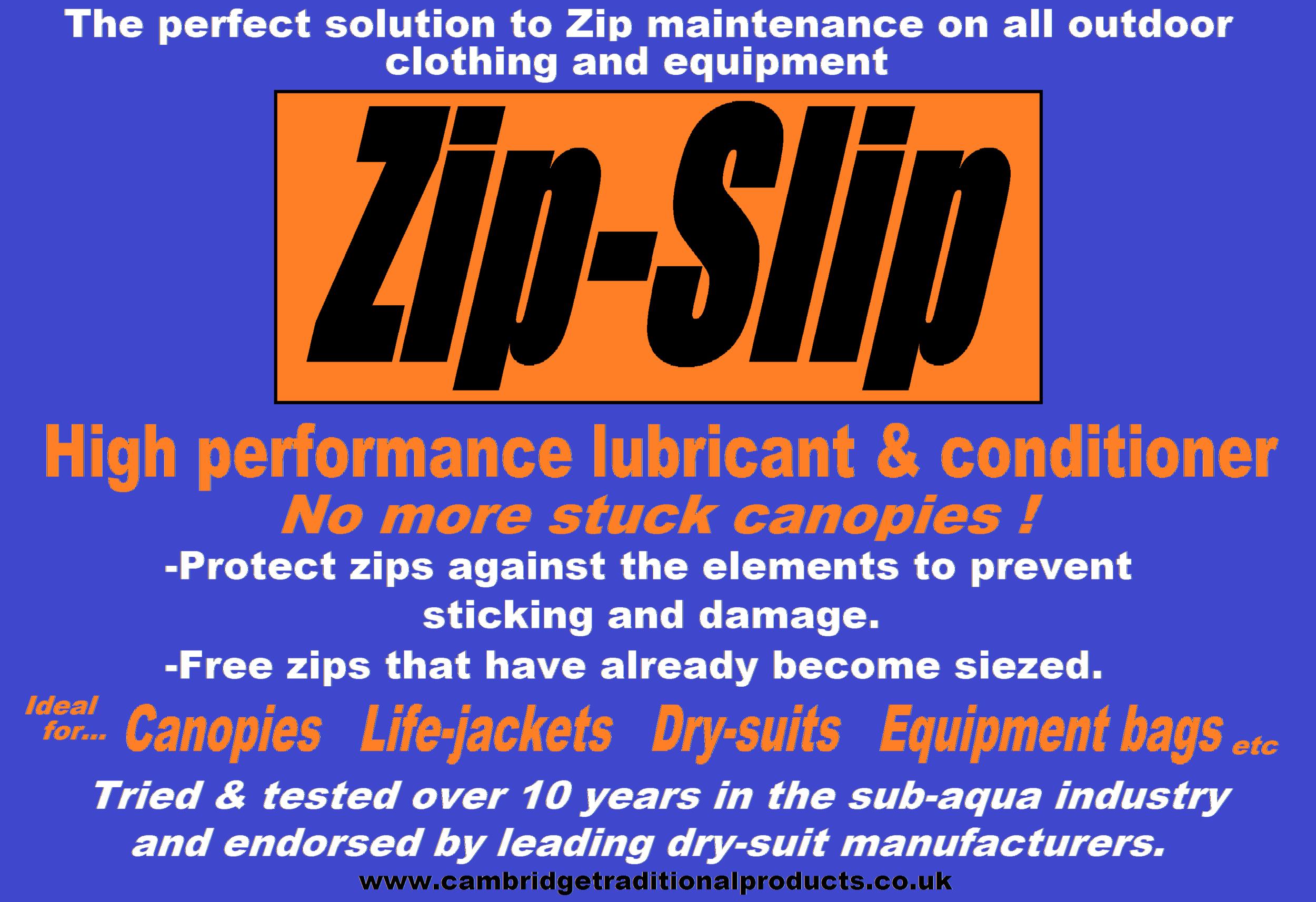 Zip-Slip - zip lubricant and zip repair for outdoor clothing and equipment