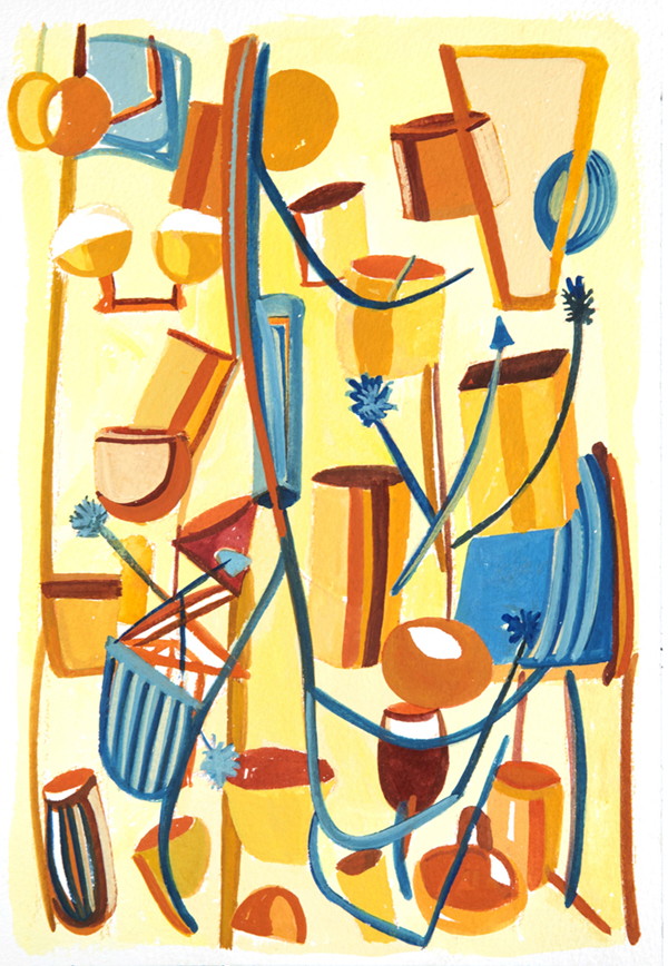 Jazz   (2017) Gouache on Hand Milled French Paper/ 9 x 13 inches (image). Framed 16 x 20""