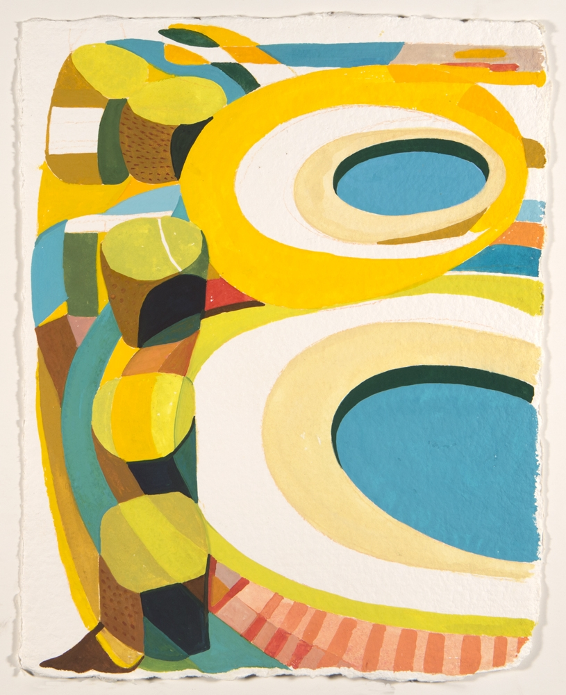 Pools  (2017) Gouache on Hand Milled French Paper/ 9 x 13 inches (image). Framed 16 x 20""