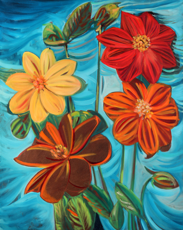 Mignon Dahlias . Oil on Canvas. 24 x 30 inches