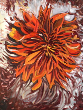 Jane Cowl Dahlia, II . Oil on Canvas. 16 x 20 inches