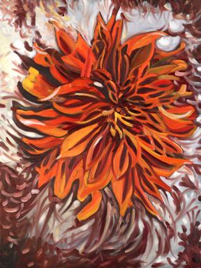Jane Cowl Dahlia, II . Oil on Canvas. 16 x 20 inches