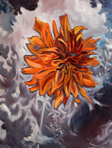 Jane Cowl Dahlia . Oil on Canvas. 24 x 30 inches