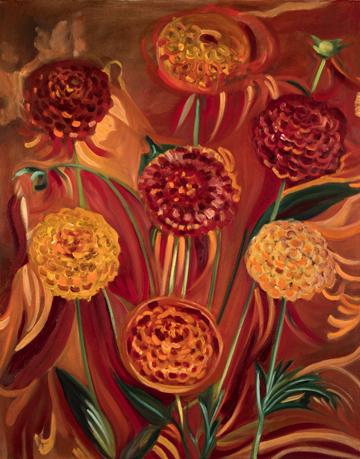 PomPom Dahlias . Oil on Canvas. 24 x 30 inches