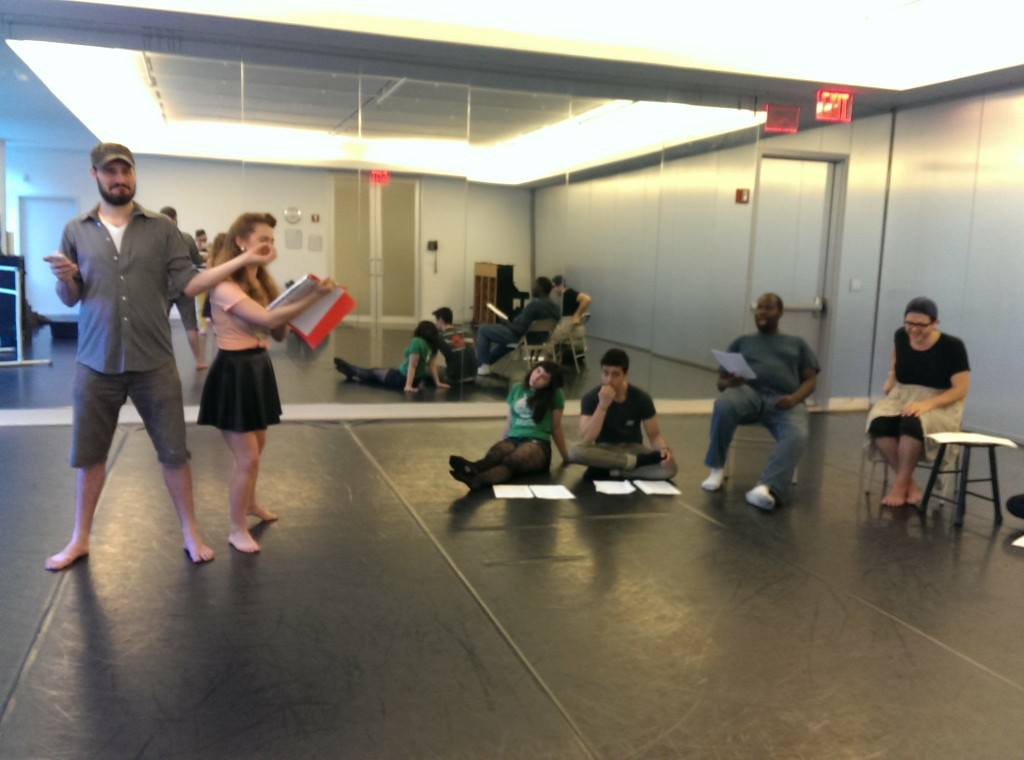 Charlotte Pines (center) and the cast of TP&co's  A Midsummer Night's Dream  rehearse  Pyramus and Thisbe  at NY Live Arts.