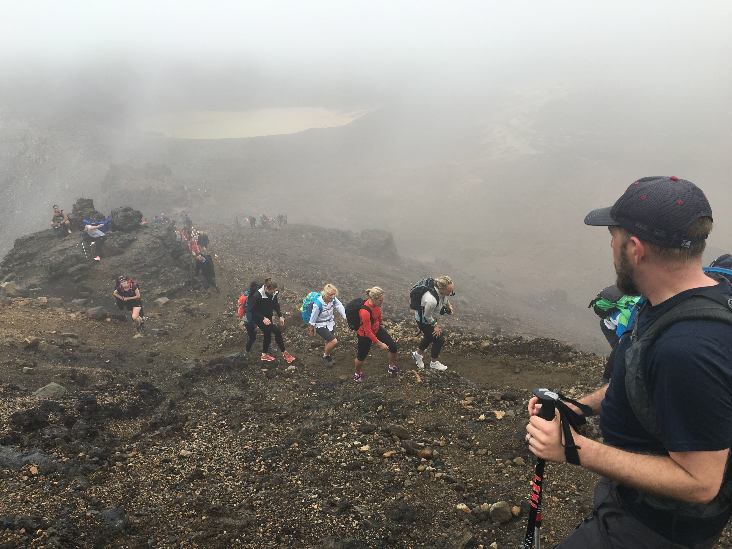 Tongariro Alpine Crossing....a small break in the constant stream of hikers