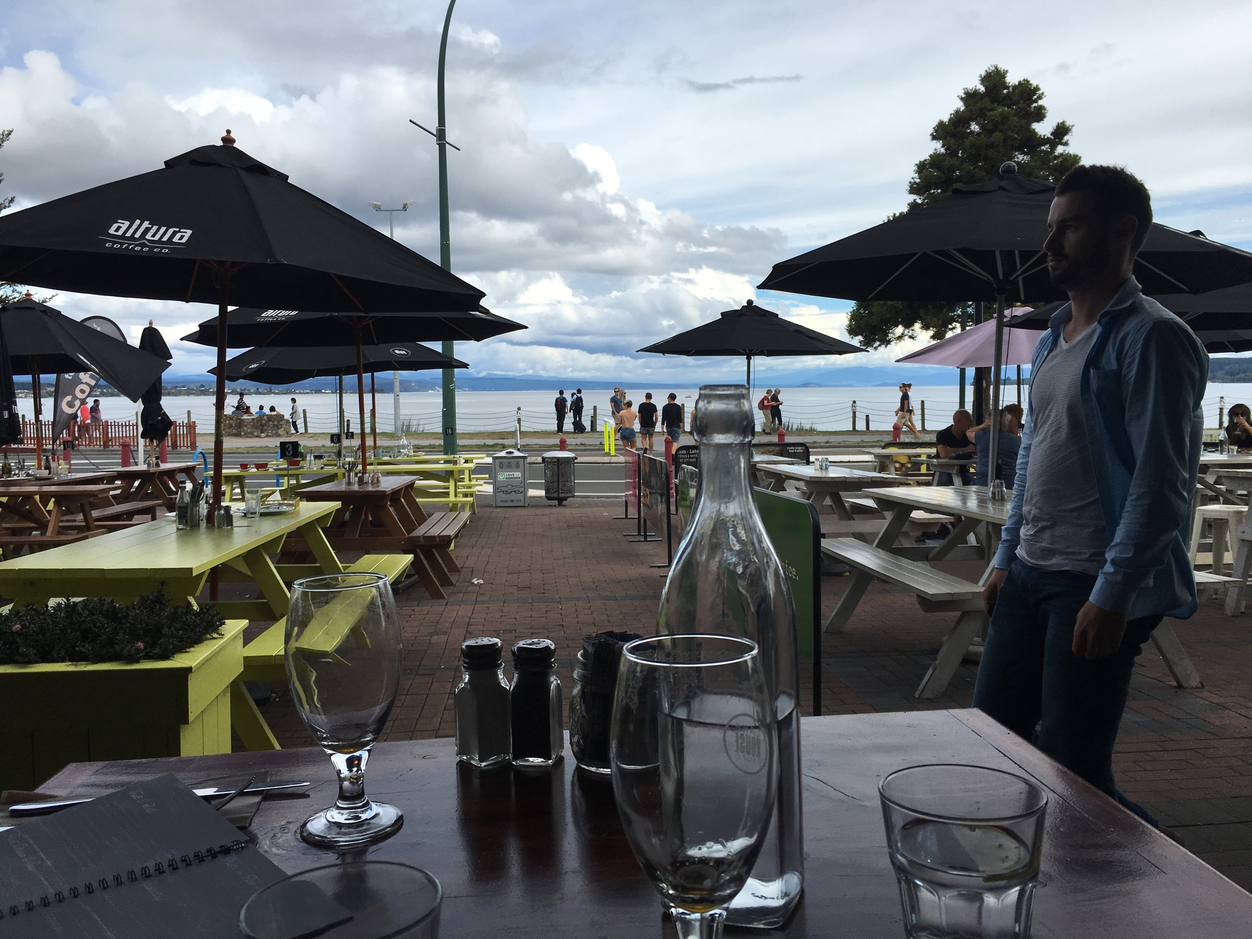 Lake Taupo waterfront, and sad empty beer gardens