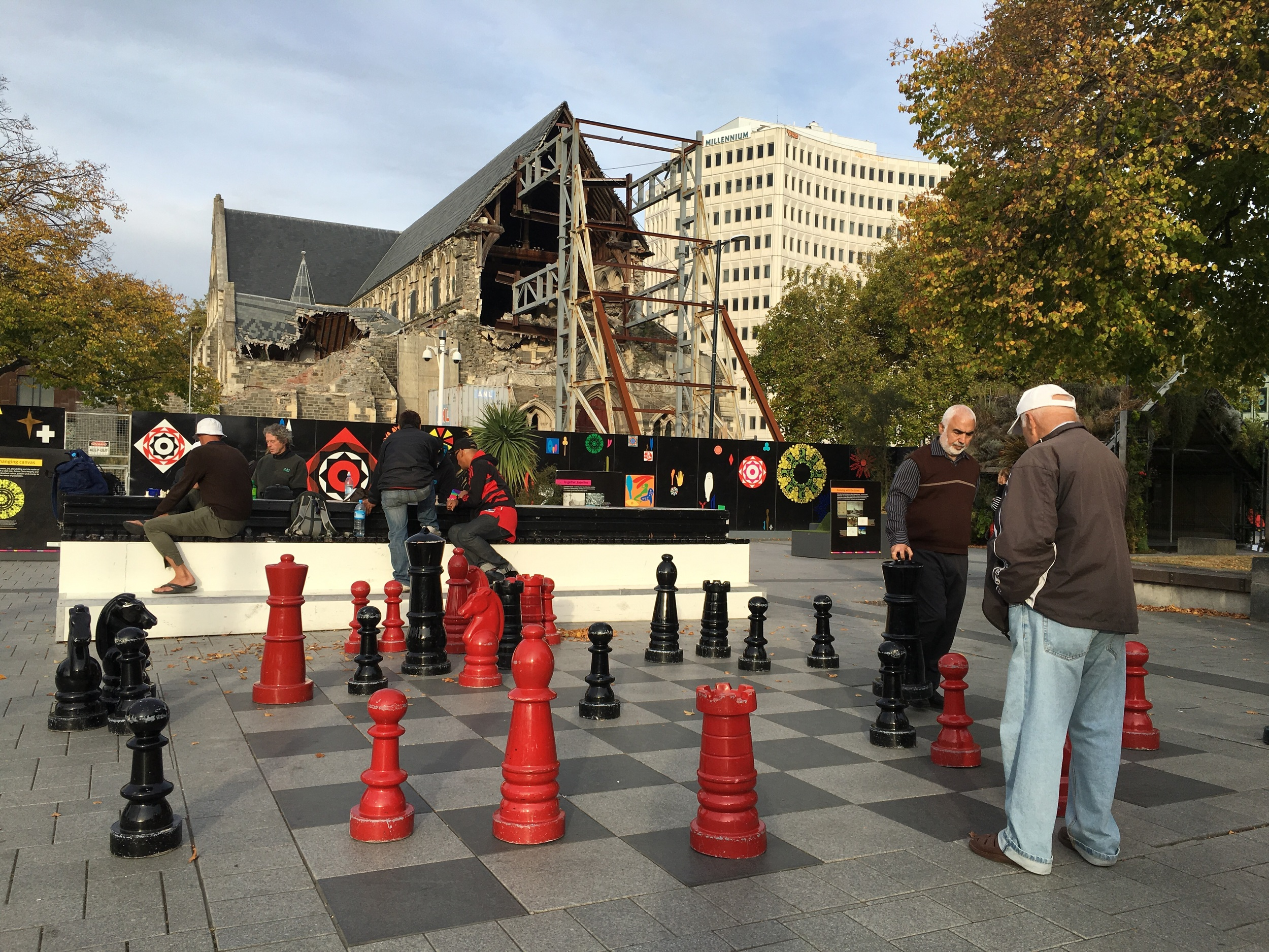 Christchurch Cathedral in center of town, still damaged. Big fight between city/church/citizens over whether to tear down or renovate