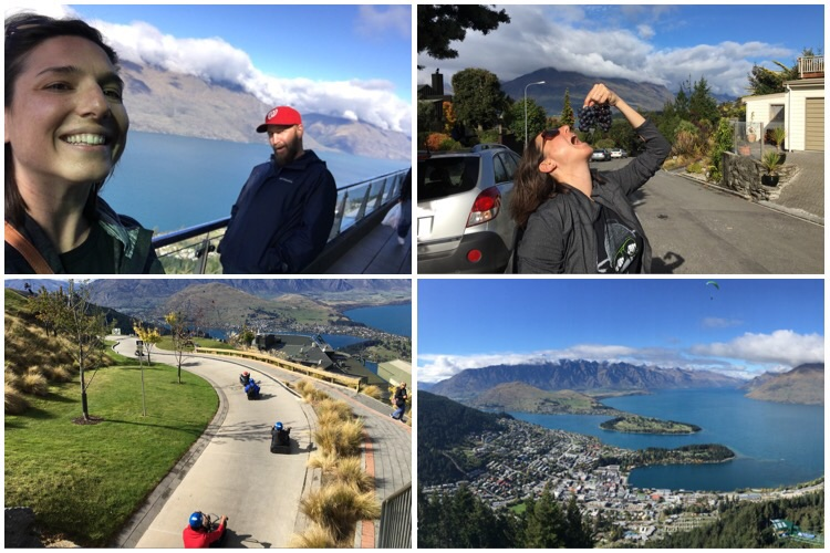 """View from top of cable car / uncharacteristically stayed at a b&b but actually enjoyed it,  and  the grapes from the owner's garden/ slowest luge ever (""""wheee!"""") / actual view of Queenstown and that oh-so-clean lake of theirs"""