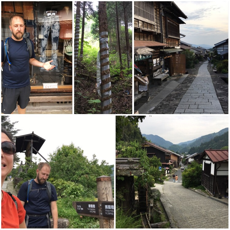 I wanted Adam to buy those pants and clearly, so did he -- ancient Japanese duct tape on trees on the post road (no idea why) -- Magome -- Adam can't believe i make him pose in this many photos --Tsumago