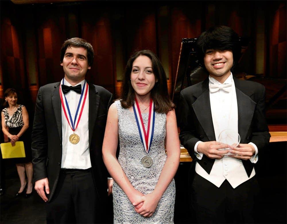 The 2013 Van Cliburn Winners.  Left to Right: Gold Medalist Vadim Kholodenko; Silver Medalist Beatrice Rana; Crystal Award Winner Sean Chen