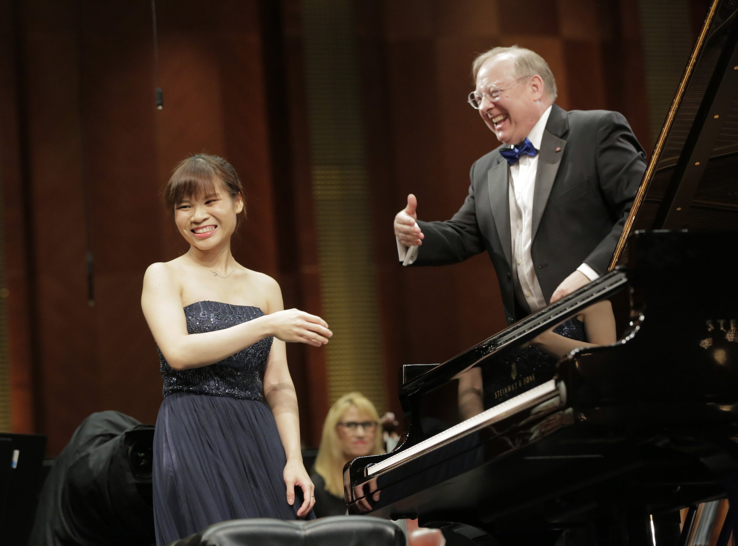 Rachel Cheung and Nicholas McGegan at the Cliburn Competition.