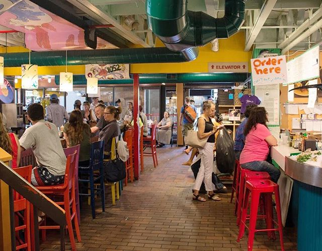 The market is the place to be at lunchtime! So many delicious options!  #lunch #lunchtime #a2 #kerrytown #annarbor #visitannarbor #shopsmall #shopping #smallbusiness #local
