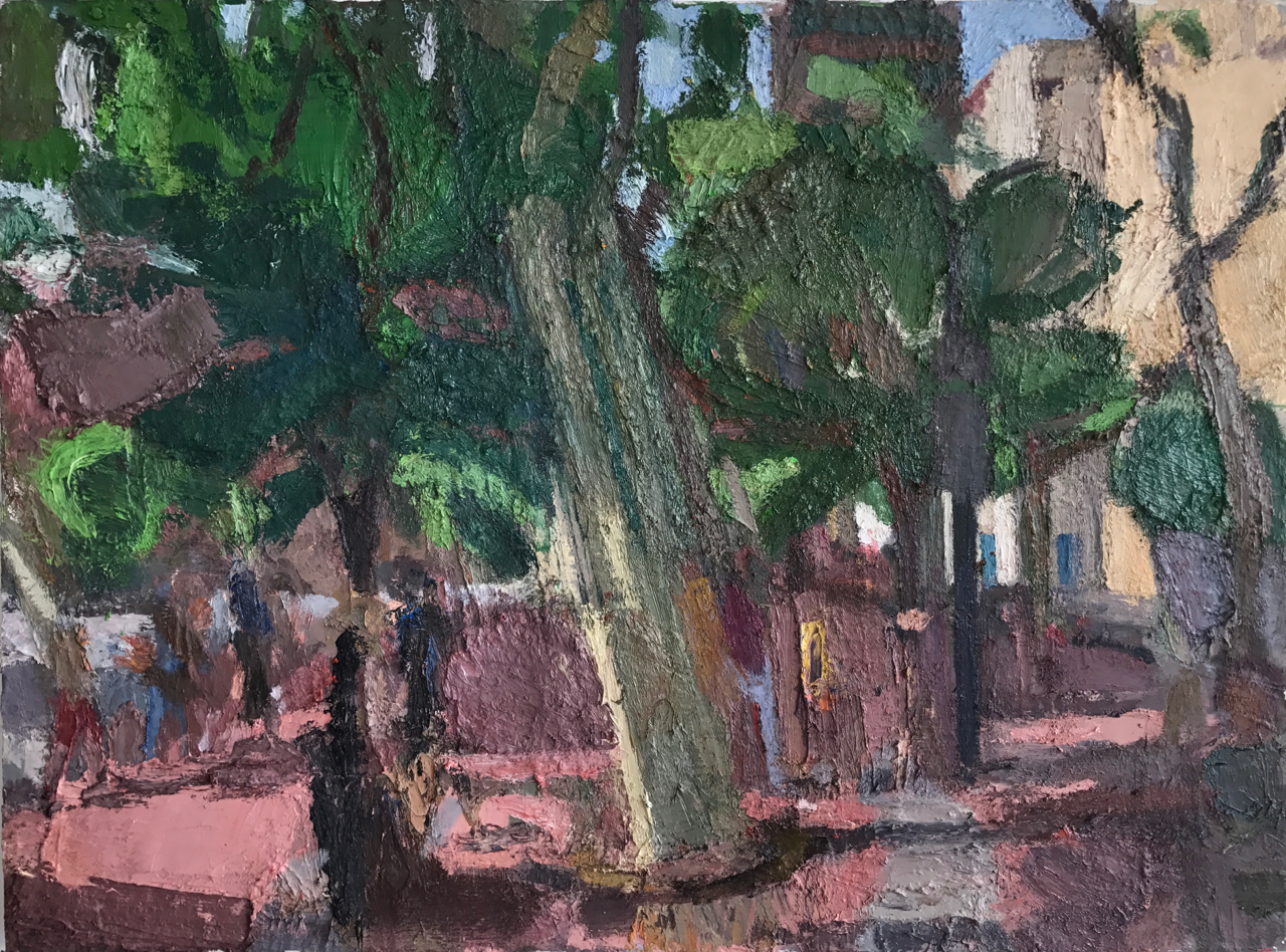 Leaning Trees, 2013-17 , 40 x 54 inches, oil on linen