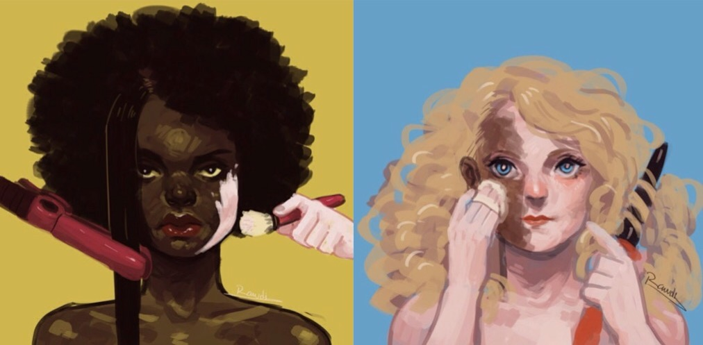 The images are from an Animated Short Film titled 'Yellow Fever,' which explores Colorism & Self-Image among African women and young girls.