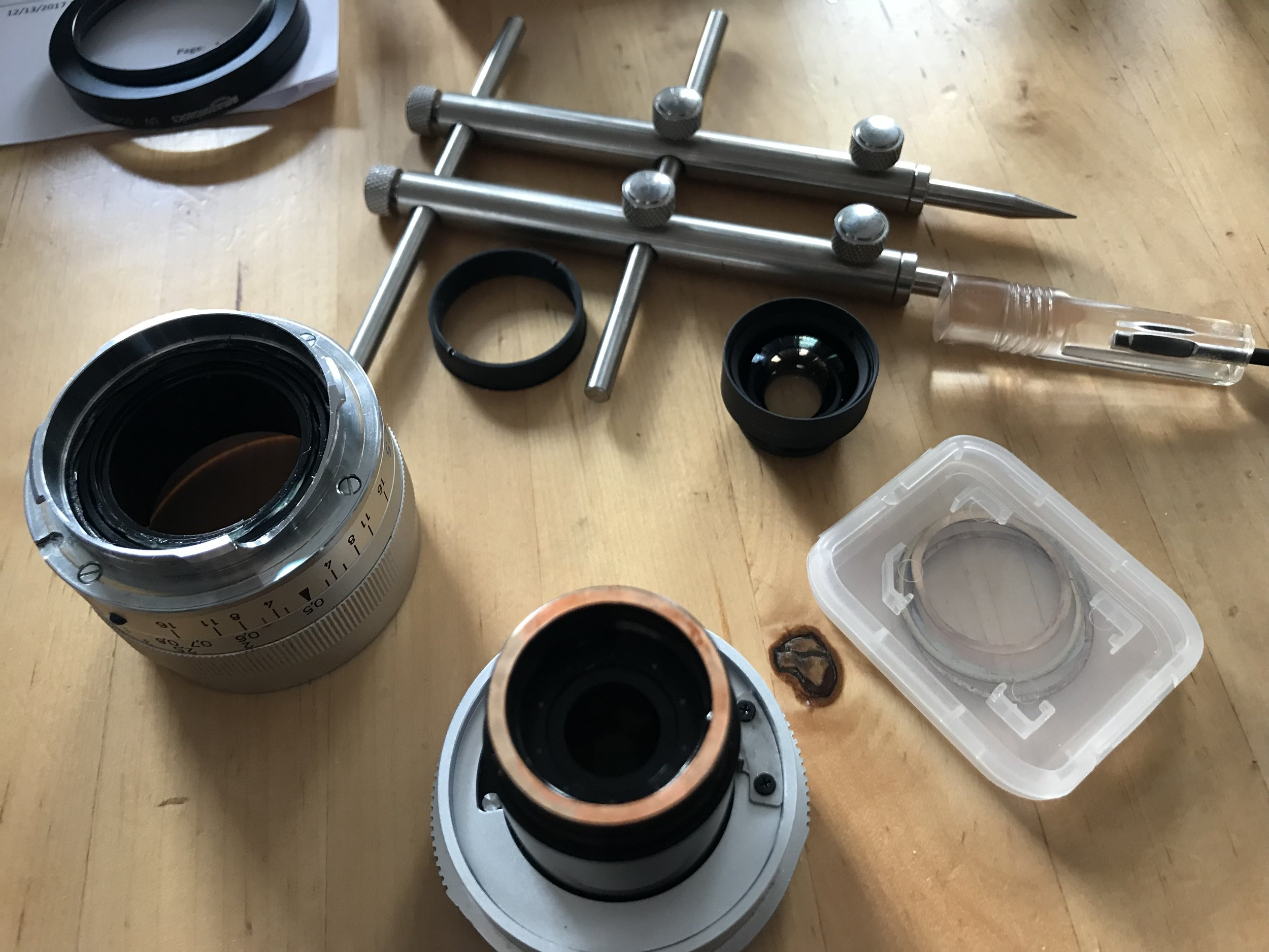 taken apart showing extra shims