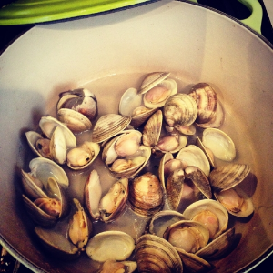 Clams all opened up!