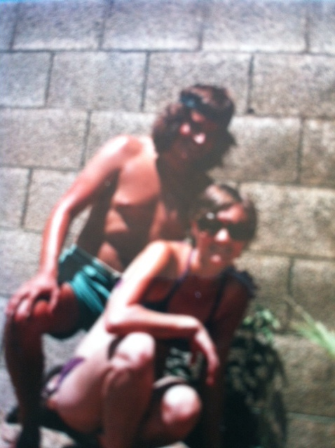 Marce and Matt, August 1976. Getting a major sunburn while planting a tree in Tempe, AZ. Matt is on the left, if you were confused.