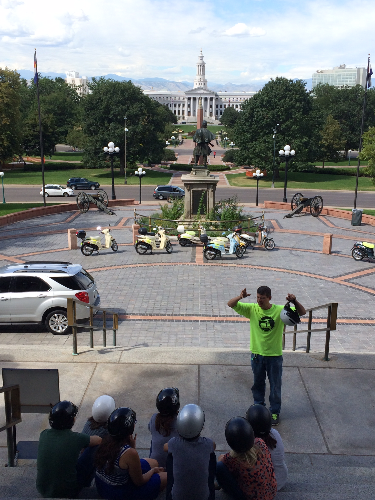 Many of our tours include a stop at the One Mile Above Sea Level step at the Colorado State Capitol.