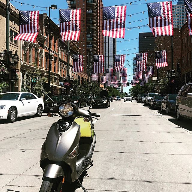 Happy 4th of July from @scootoursdenver! 🇺🇸🇺🇸🇺🇸 #cuteronascooter #scooter #scootoursdenver #ilovedenver #denver