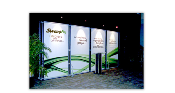 Swamp Fox booth panels. This clean and simple booth stood behind the speakers at this show that was created to bring companies and innovators together.