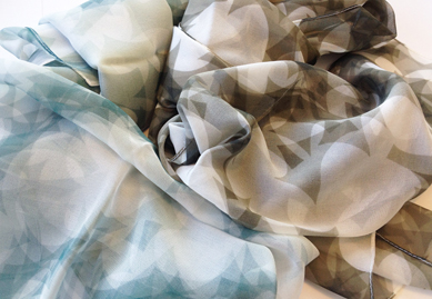 """L. to R. -  Gray Puzzle Leaves ; Chestnut Puzzle Leaves  Silk Chiffon Scarf 14""""x72"""""""