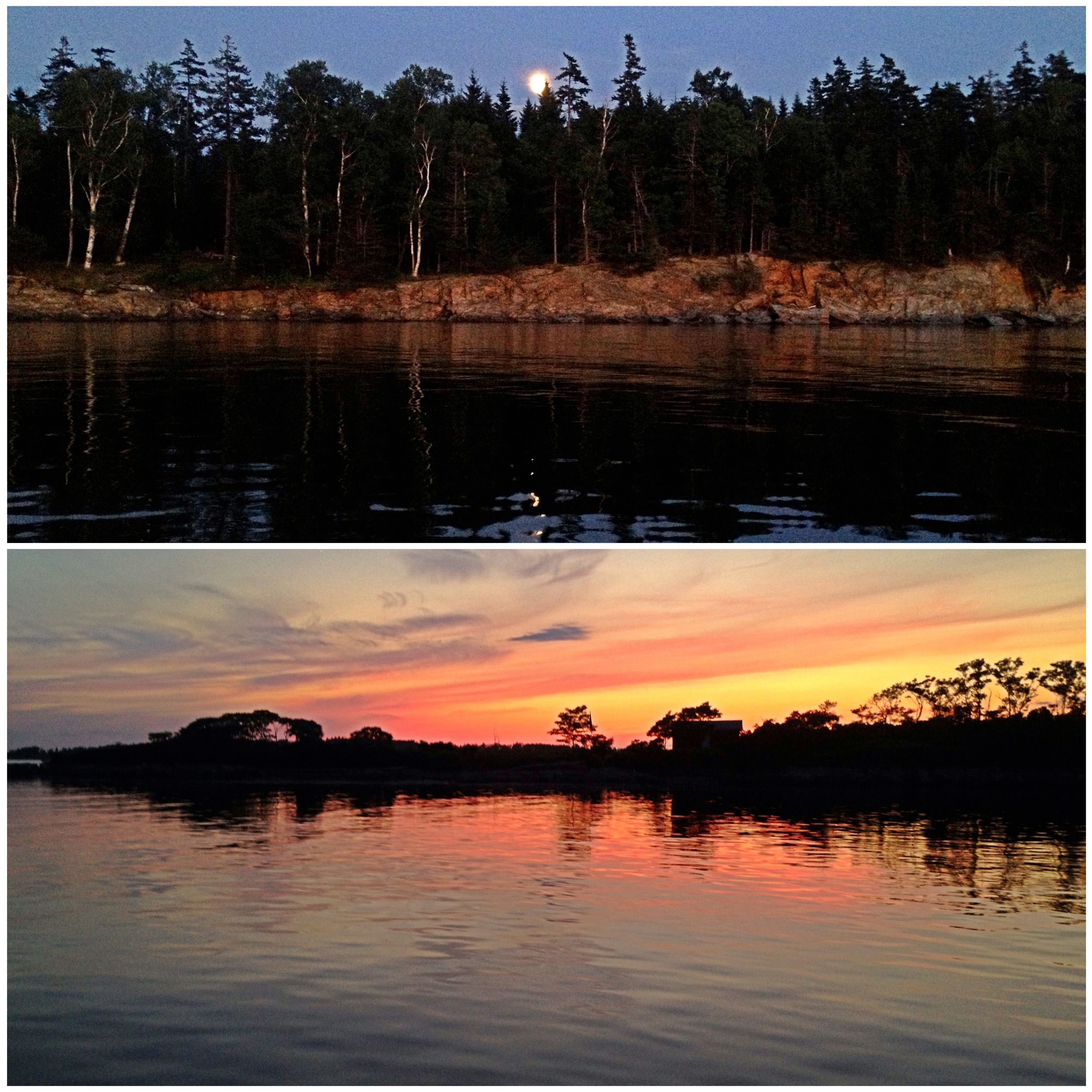 Full moon rising in the east & sunsetting in the west.