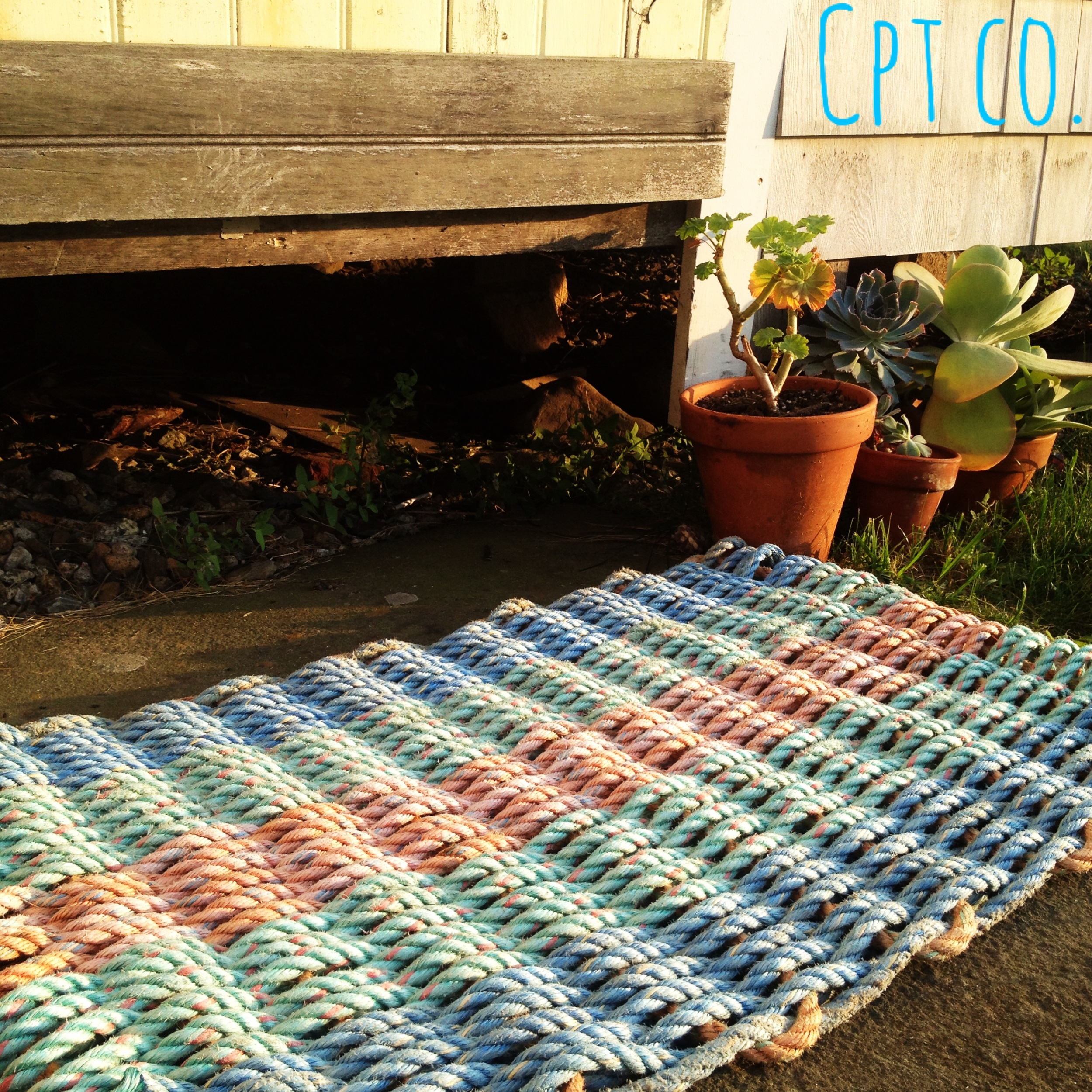 Vinalhaven: Item# 5-14108S: Small - Light Blue, Light Green & Creamsicle Recycled Sea Rope Doormat