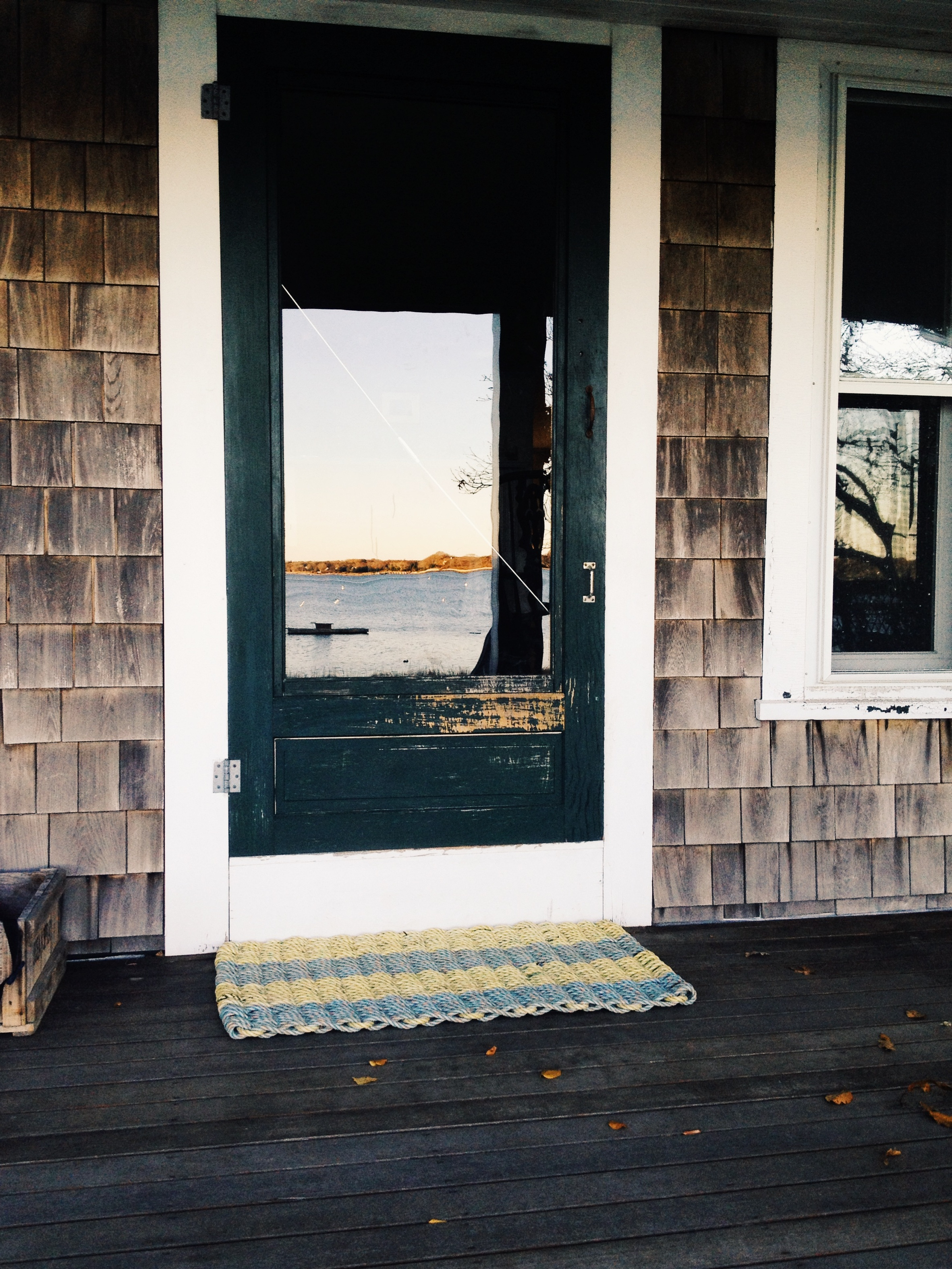 Pemaquid: Item# 4-914L: Large - Light Yellow & Light Blue Recycled Sea Rope Doormat