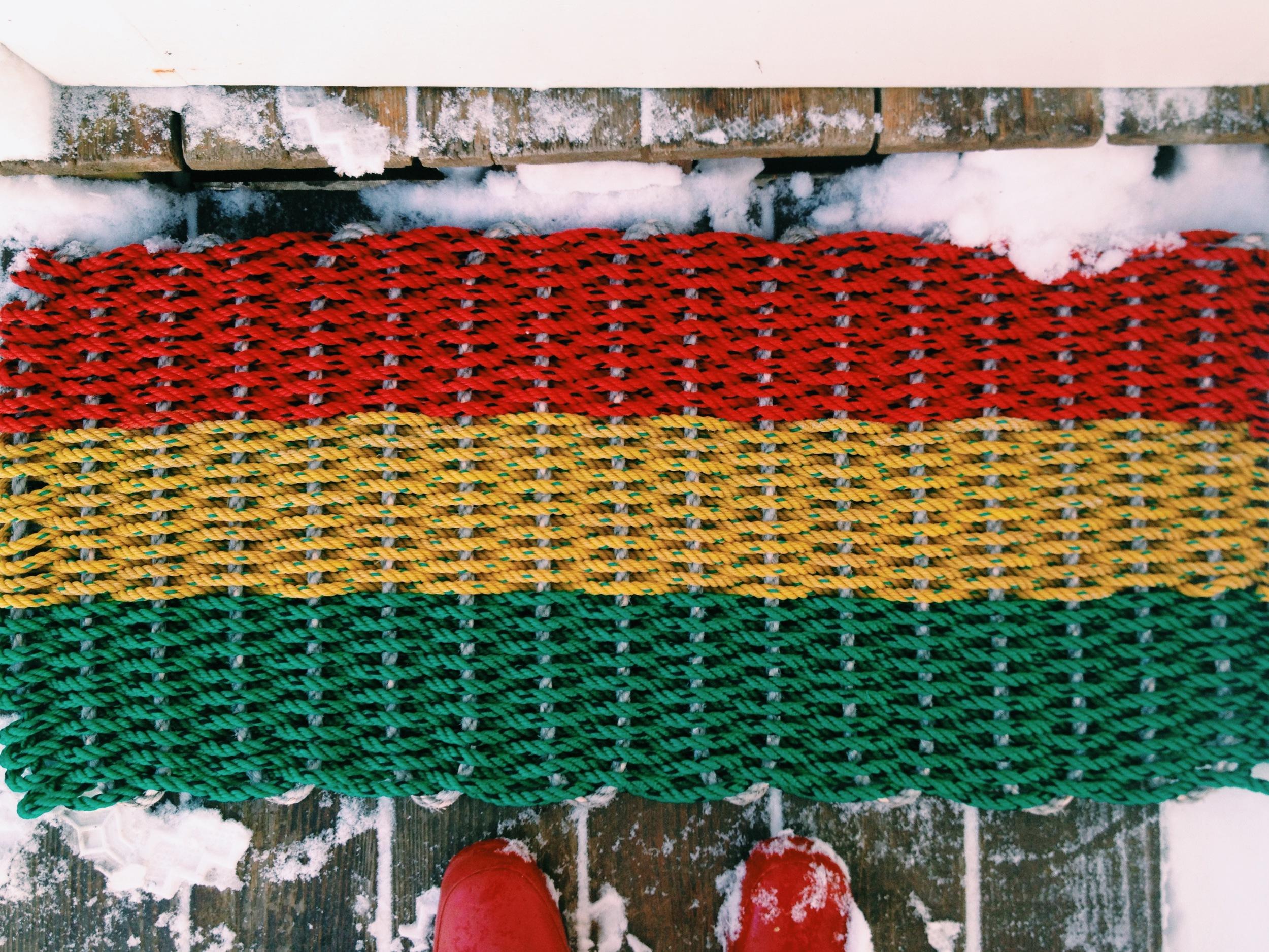 Stage Harbor: Item# 1-136L: Large Rasta Colors Recycled Sea Rope Doormat