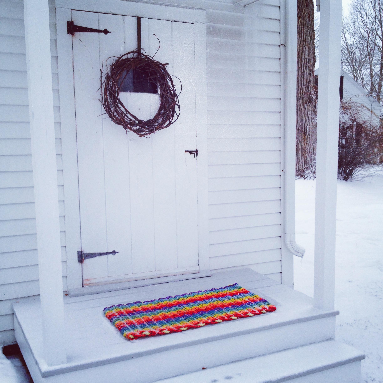 Ogunquit: Item# 6-15L: Large - Rainbow Recycled Sea Rope Doormat