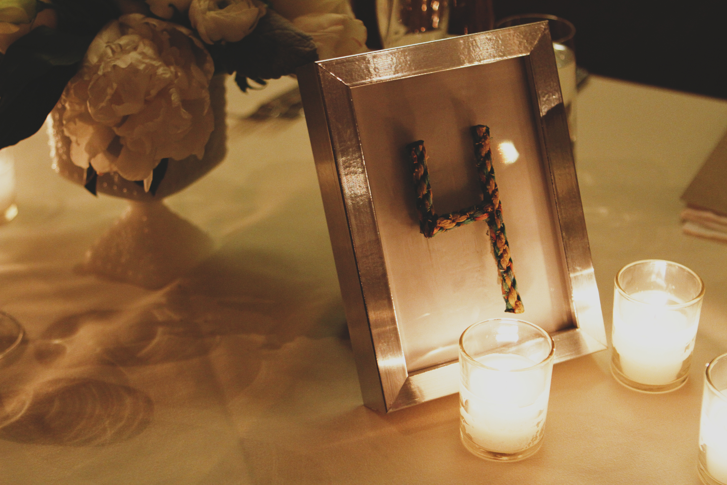 Rope Wedding Reception Table Numbers