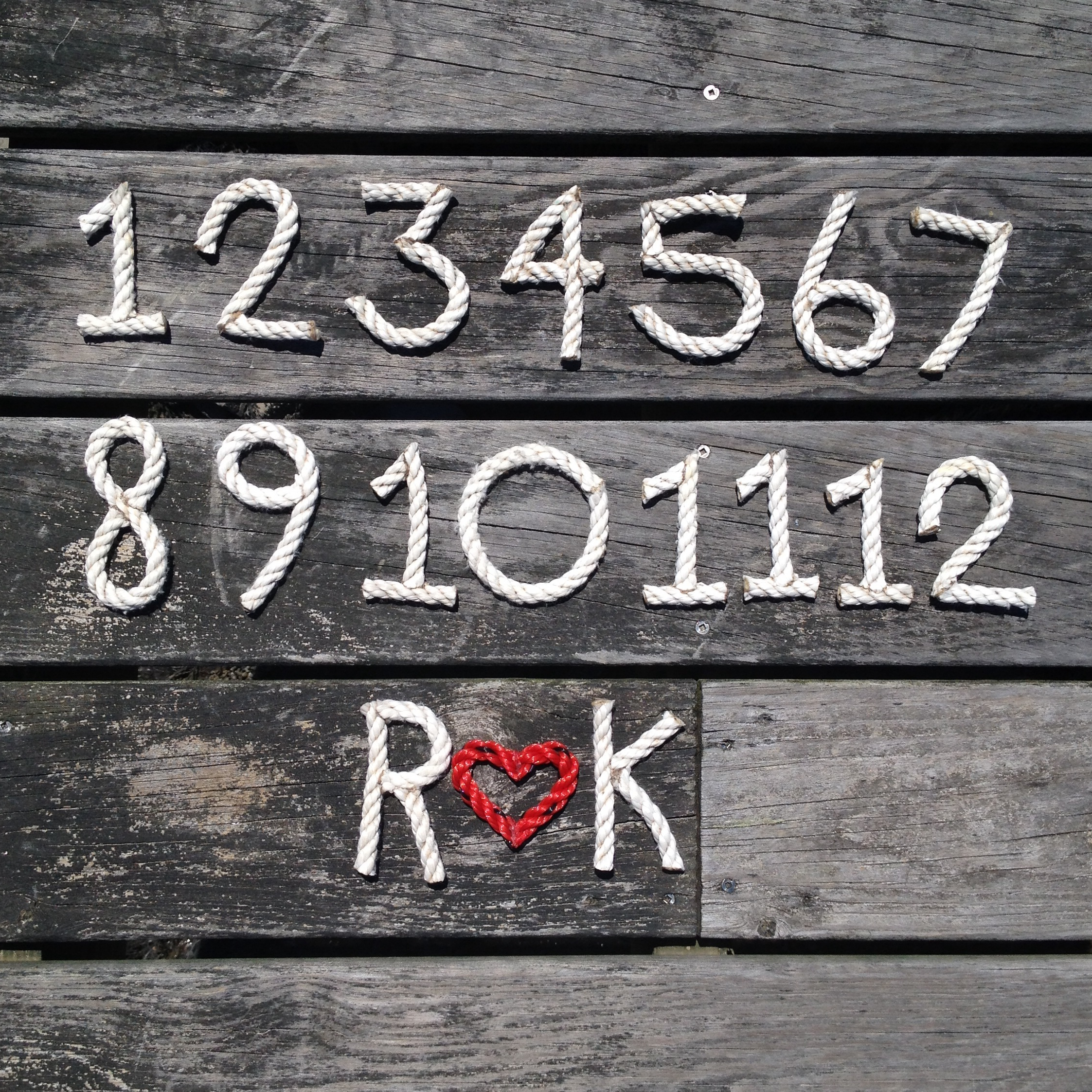 Recycled Rope Letters and Numbers for Wedding