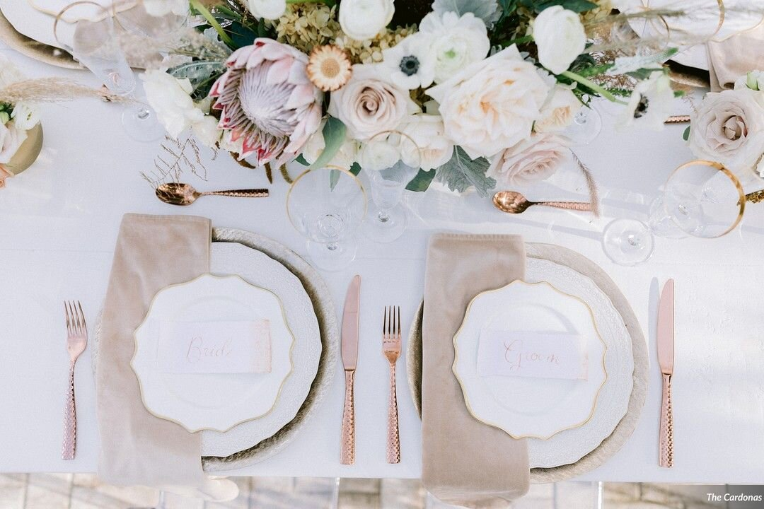 Reception with Rectangular Place Cards on Rose Gold Place Settings. Modern Calligraphy written names in Rose Gold Ink. Made with white handmade paper with a deckled edge or torn paper detail. Watercolor wash on one edge. Bride and Groom Place Settings.