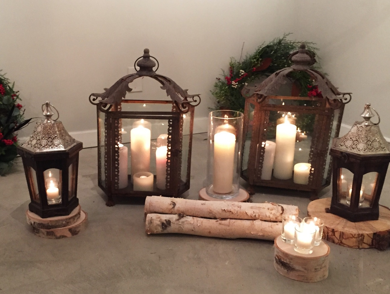 Candles with wood