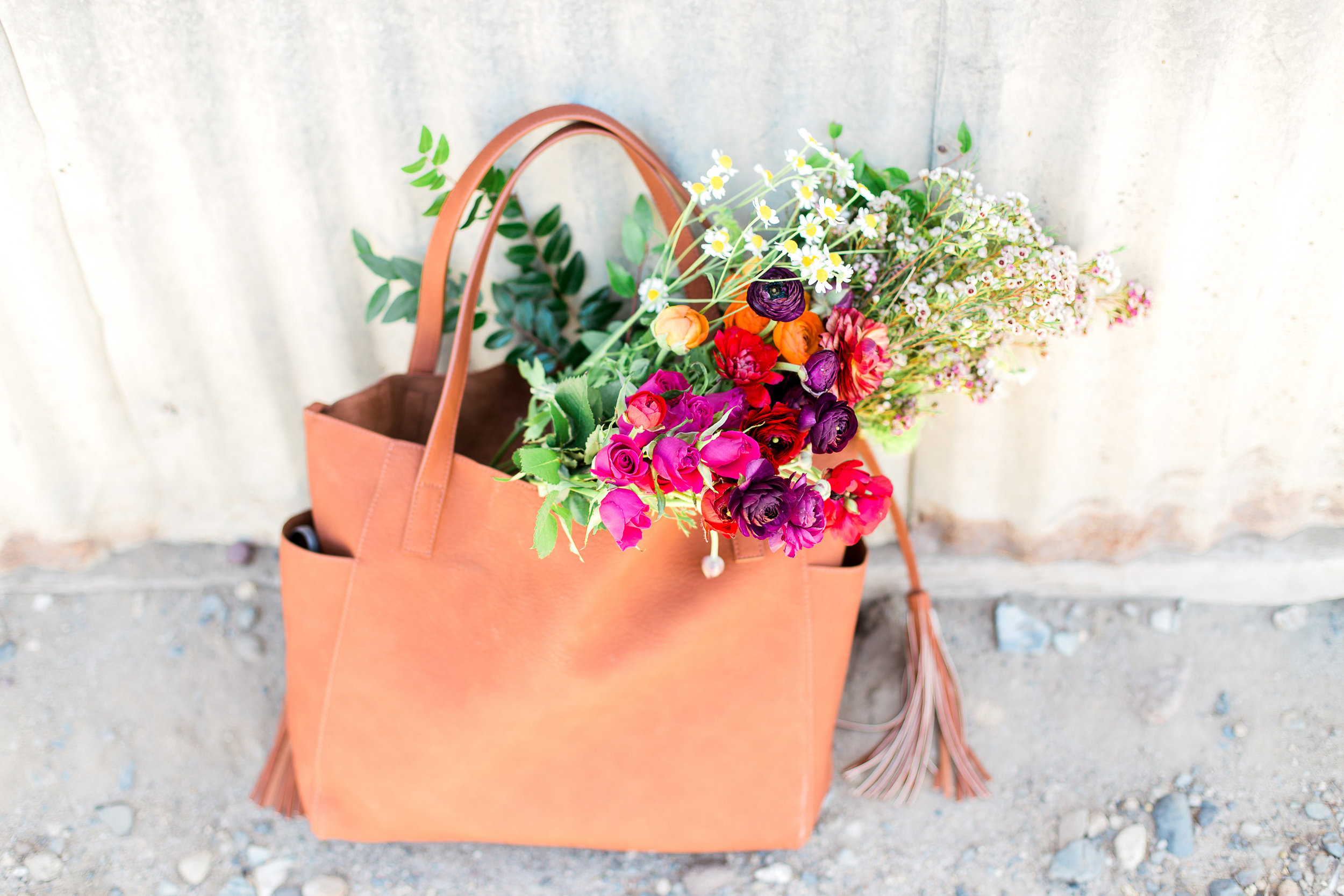 Tote of flowers