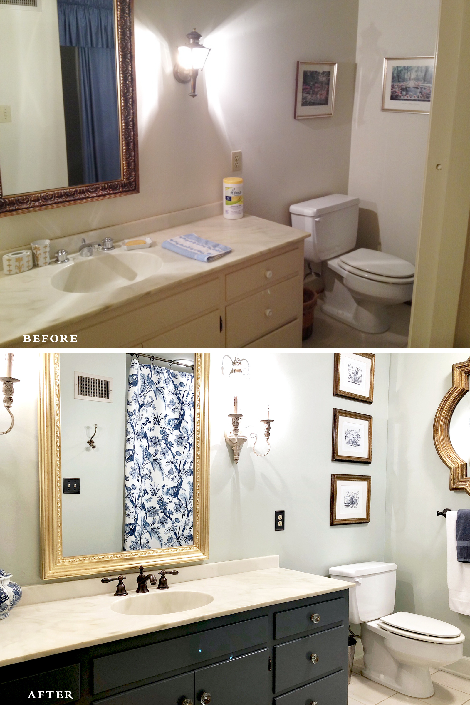 The top photo is this bathroom's original condition when we bought the house 4 years ago.
