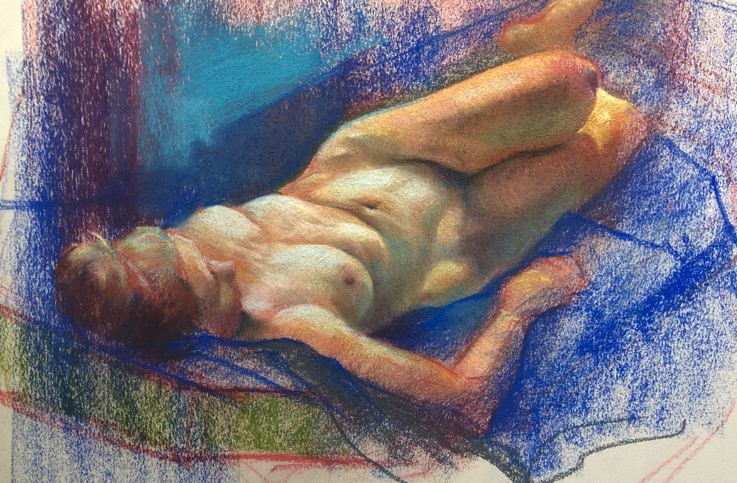 Life Drawing Pastel Study of Reclining Nude