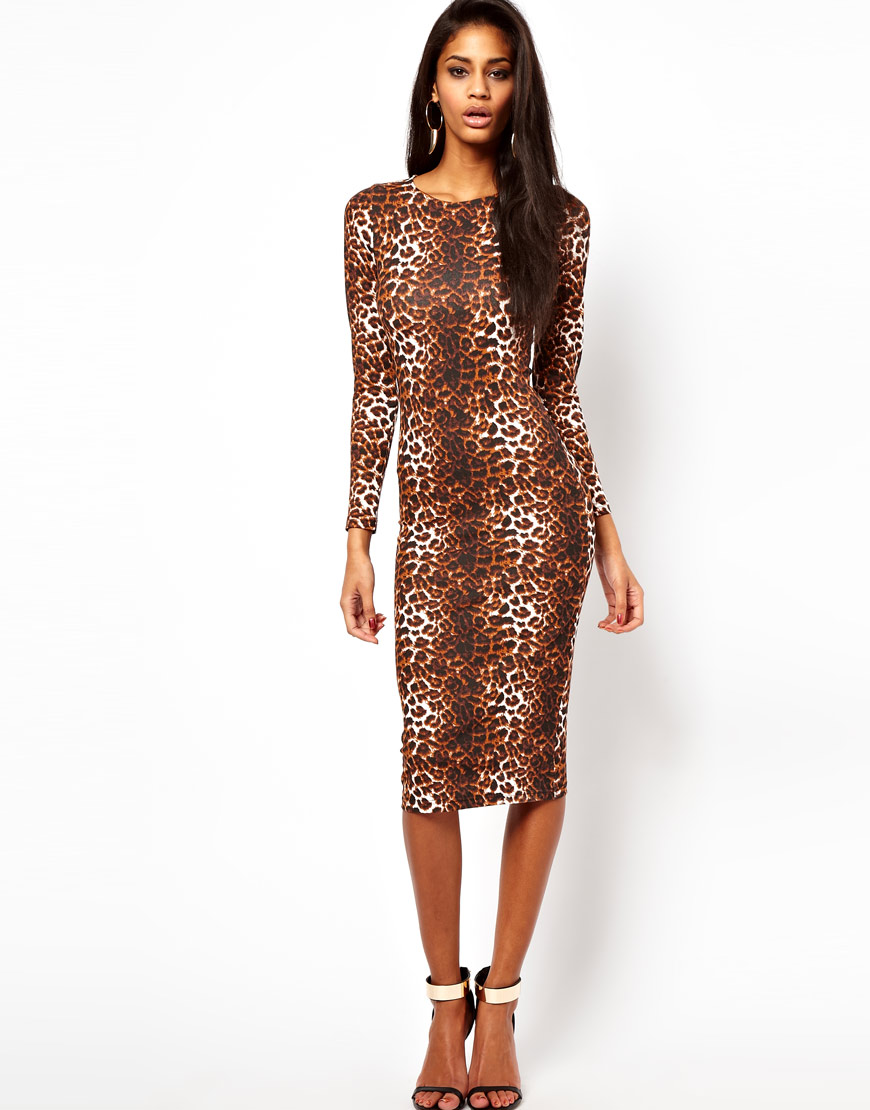 Midi Bodycon Dress in Leopard ($46)