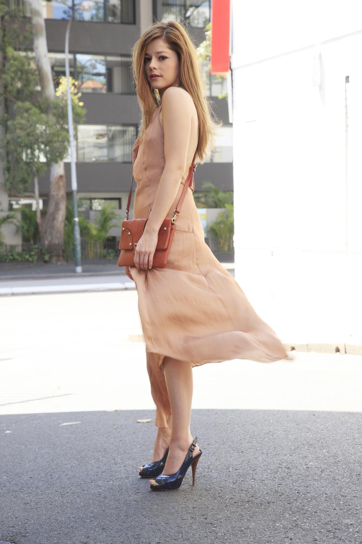 Dress:  ZARA    Earrings:   BLEAK Designs   Shoes:  Fendi   Bag:  Mulberry