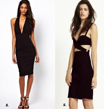 A:   ASOS Bengaline Pencil Dre  ss  ($29AUD)   B.   Bec & Bridge TYRA Wrap Front Dress  ($240AUD)